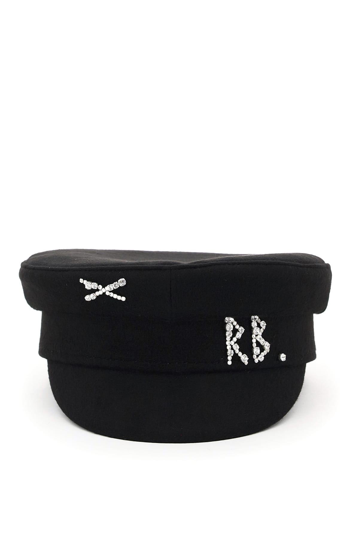 RUSLAN BAGINSKIY BAKER BOY HAT CRYSTAL RB S Black Wool