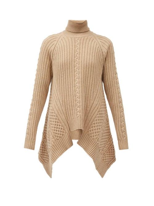 Alexander Mcqueen - Handkerchief-hem Roll-neck Sweater - Womens - Beige