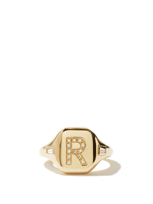 Shay - Initial Diamond & 18kt Gold Pinky Ring (r-z) - Womens - Yellow Gold