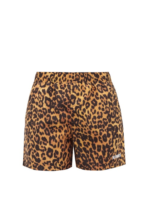 Vetements - Logo And Leopard-print Swim Shorts - Mens - Brown Multi