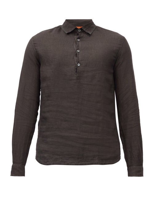 Barena Venezia - Pavan Half-button Linen Shirt - Mens - Black