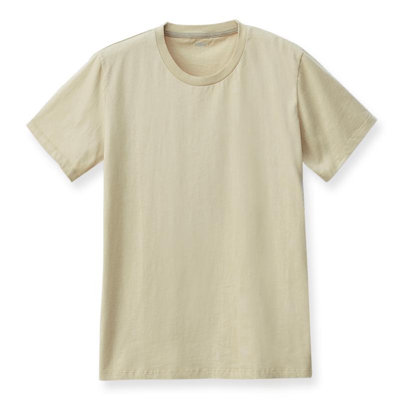 素面圓領T恤(淺卡其)-男