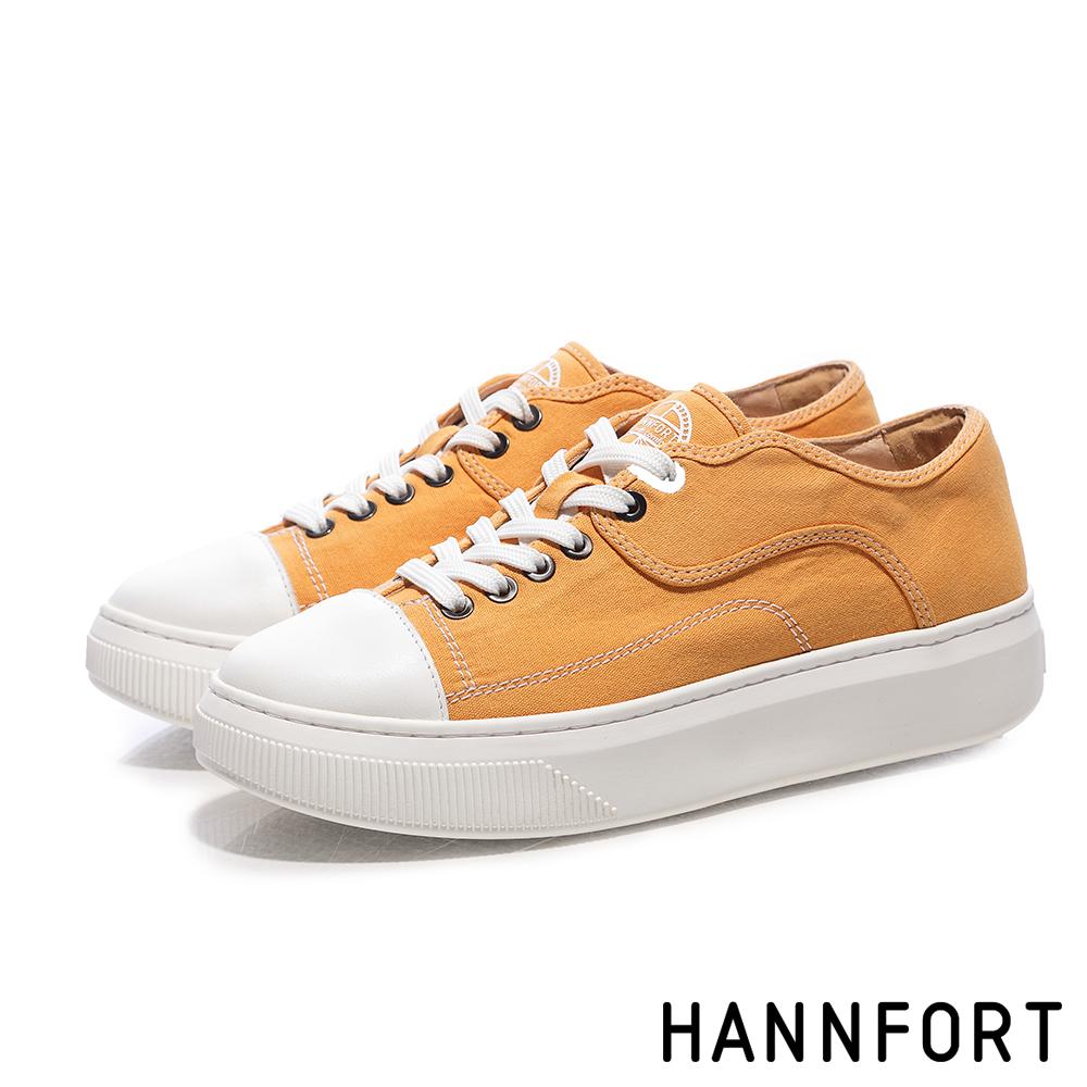 HANNFORT CAMPUS PLATFORM復古車線帆布厚底休閒鞋-女-芥末黃