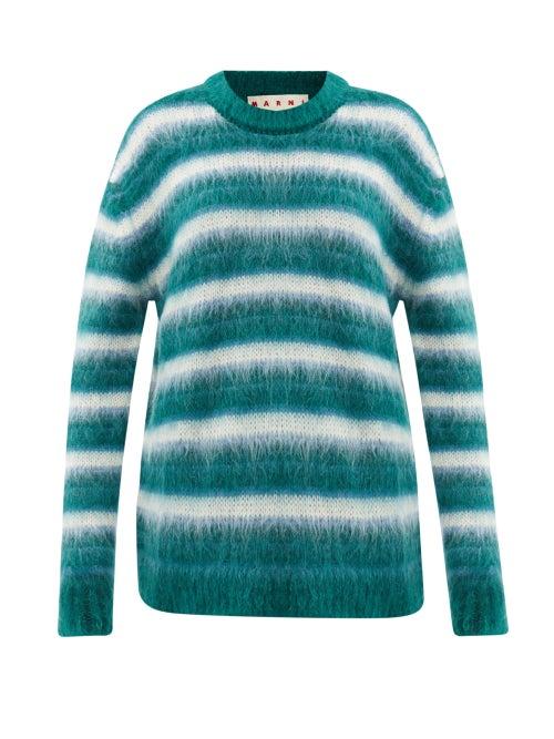 Marni - Striped Mohair-blend Sweater - Womens - Green Stripe
