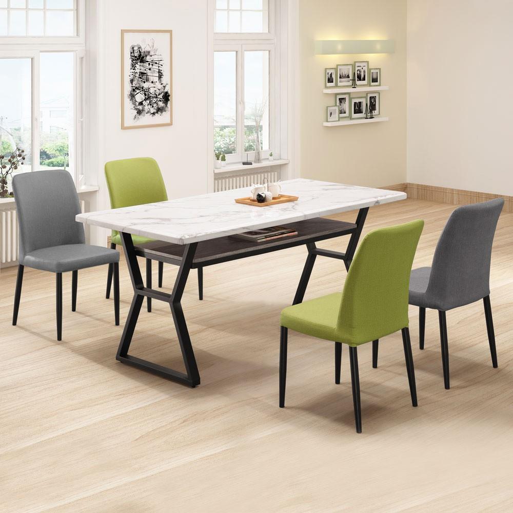 YoStyle 杉原仿石紋5尺餐桌椅組(一桌四椅) 會議桌 工作桌 桌子 餐椅 專人配送安裝