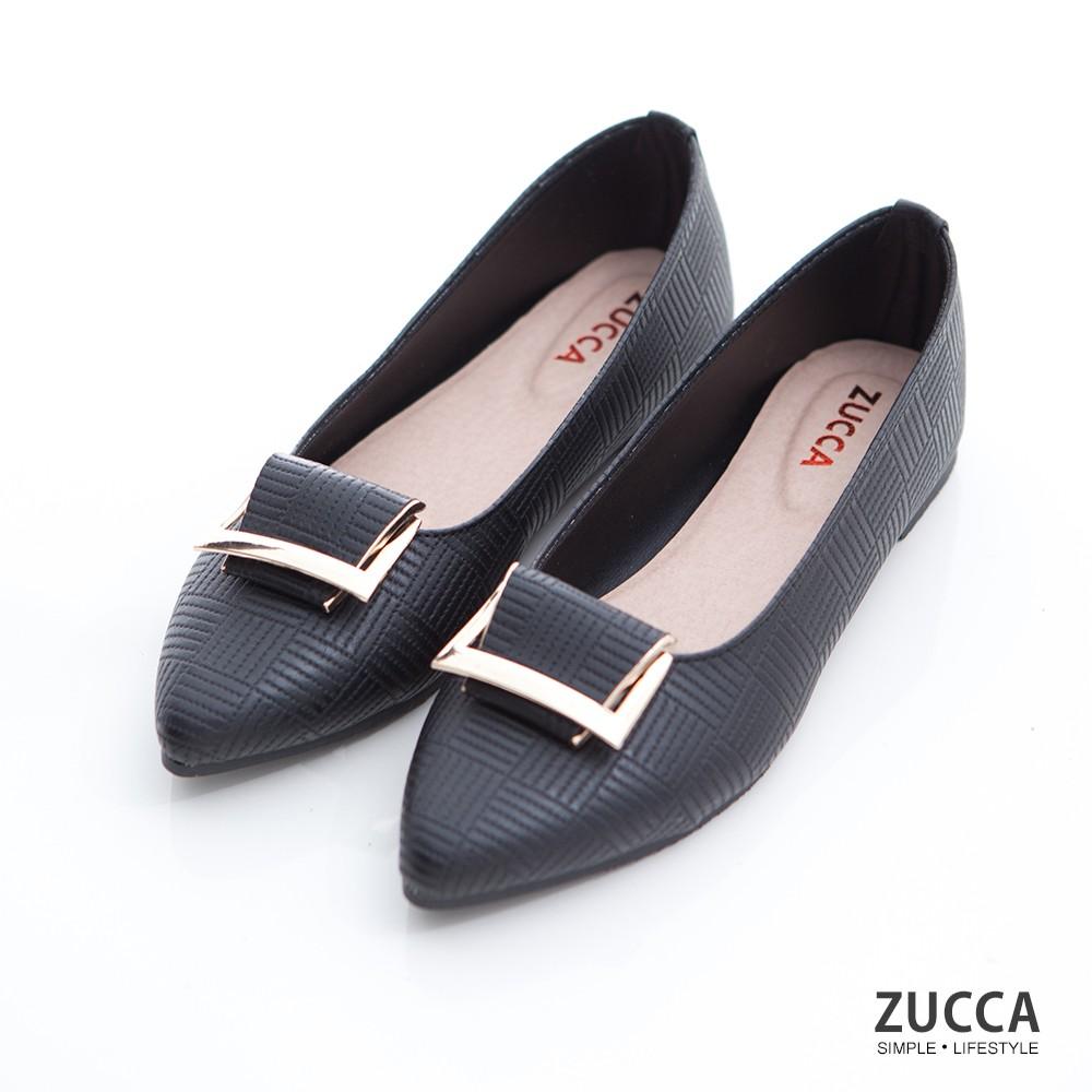 【ZUCCA】金屬細紋尖頭平底鞋-z6904bk-黑