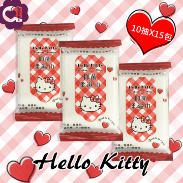 Hello Kitty 凱蒂貓抗菌柔濕巾/濕紙巾 隨手包10抽X15包