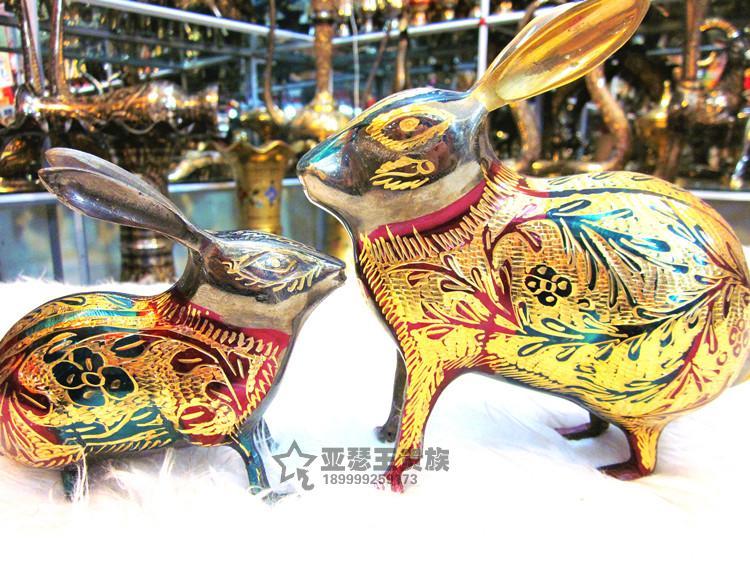 手工藝品直銷銅器銅雕動物吉祥兔屬相兔工藝禮品1入