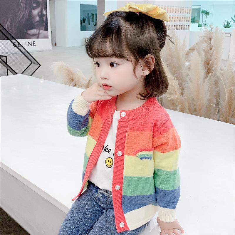 2021年童裝新款 2021新款秋裝兒童彩虹開衫毛衣韓版寶寶夾克一件代發小學生衣服潮