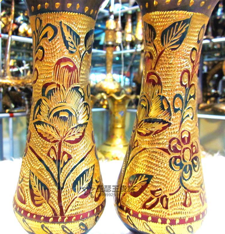 手工藝品銅器銅雕花瓶工藝禮品廠家直銷1入
