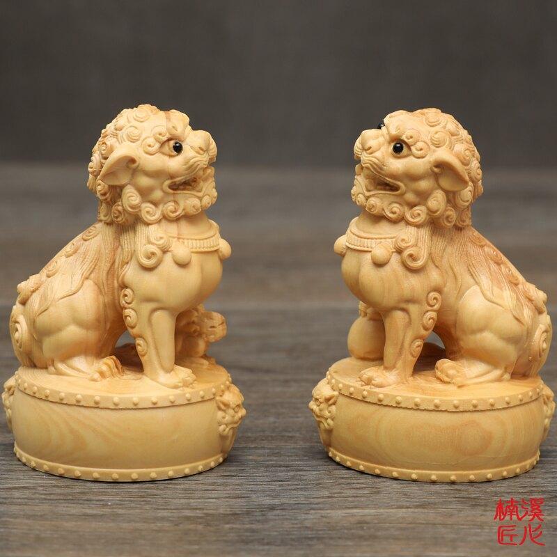 楠溪匠心黃楊木雕站鼓獅子擺件創意工藝品手把件招財鎮宅一對獅子1入