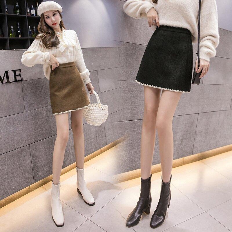 毛呢a字半身裙女高腰呢子短裙秋冬季新款顯瘦打底一步包臀裙冬裙1入