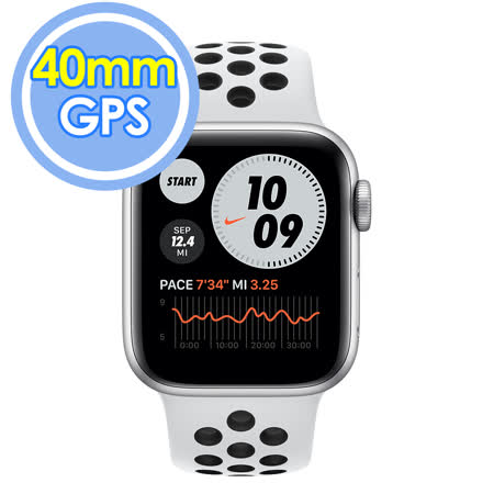 Apple Watch Nike S6 (GPS) 40mm 銀色鋁金屬錶殼+白色錶帶(M00T3TA/A)