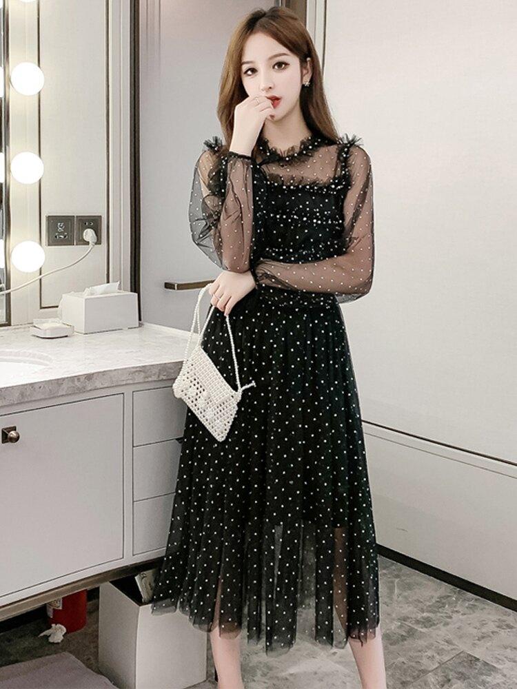 超仙的裙子女2020春裝新款韓版甜美中長款收腰顯瘦氣質網紗連衣裙1入
