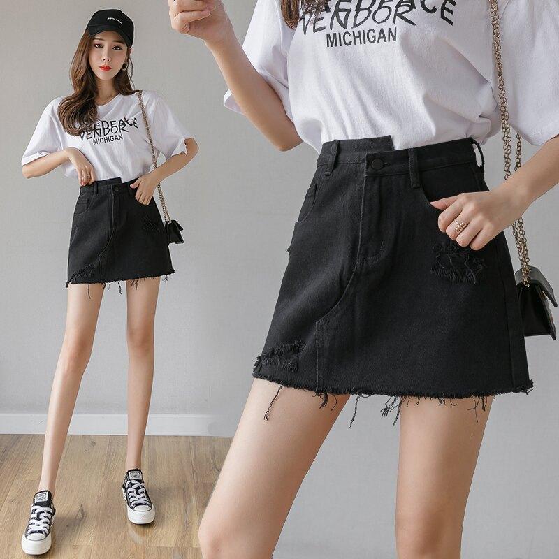 黑色裙子破洞牛仔半身裙2020年春裝新款韓版高腰a字裙短裙包臀裙1入