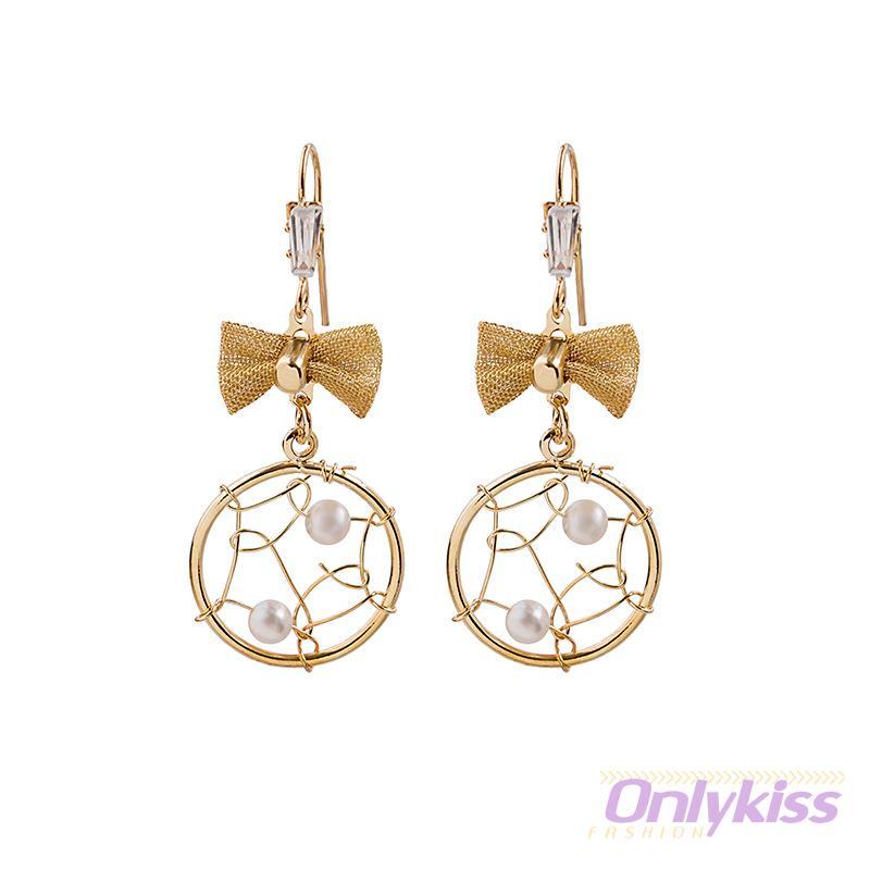 Onlykiss 個性耳環 設計感925銀針耳環 潮流編織耳釘 復古蝴蝶結耳環 精緻珍珠耳環 日韓網紅耳環