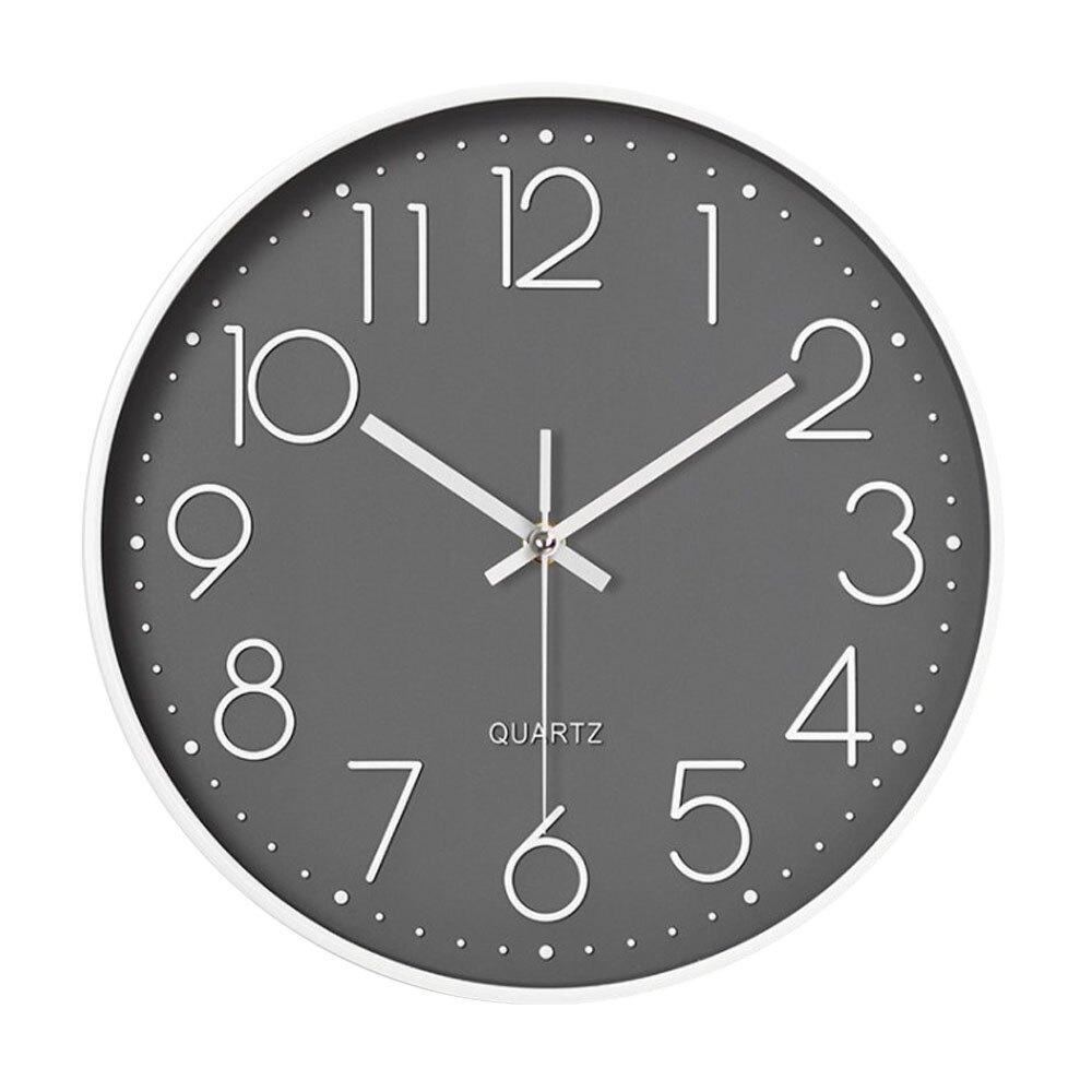 【媽媽咪呀】生活美學簡約款靜音壁掛鐘/時鐘-灰底白字