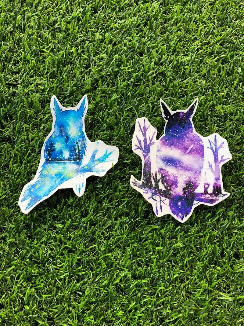 PVC防水貼紙-行李貼-(大)-星空貓頭鷹款