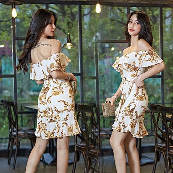 S-XL名模風時尚氣質女人味一字肩連身裙收腰系帶性感禮服裙女(兩色選)-凱西娃娃