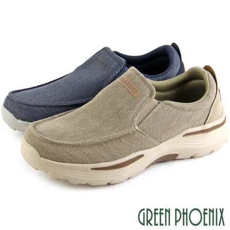 【GREEN PHOENIX】超輕量減壓素色英文字母牛仔帆布直套式休閒鞋/健走鞋(男款)
