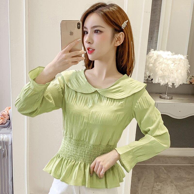 白襯衫女設計感小眾2020春裝新款韓版荷葉領長袖收腰顯瘦襯衣上衣1入