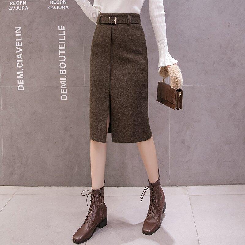 2019冬季新款韓版純色顯瘦氣質毛呢半身裙中長款開叉包臀裙女1入