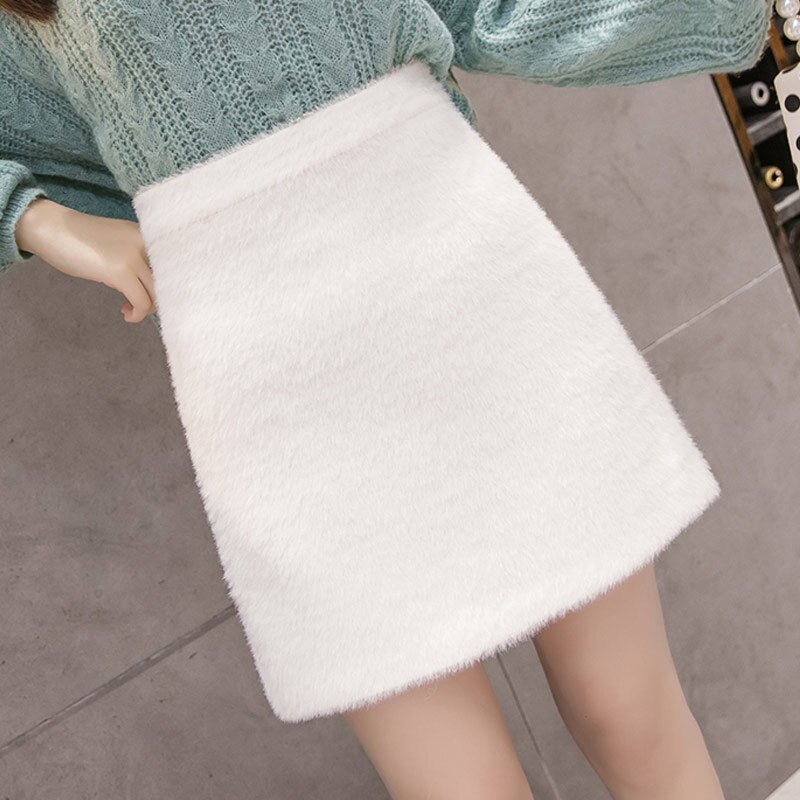 秋冬毛裙絨面a字短款矮個子毛茸茸半身裙嬌小145顯高毛絨短裙外穿1入