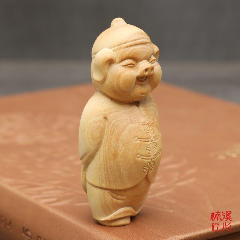 楠溪匠心小葉黃楊木雕豬擺件實木雕刻工藝品隨身手把件福豬財主1入