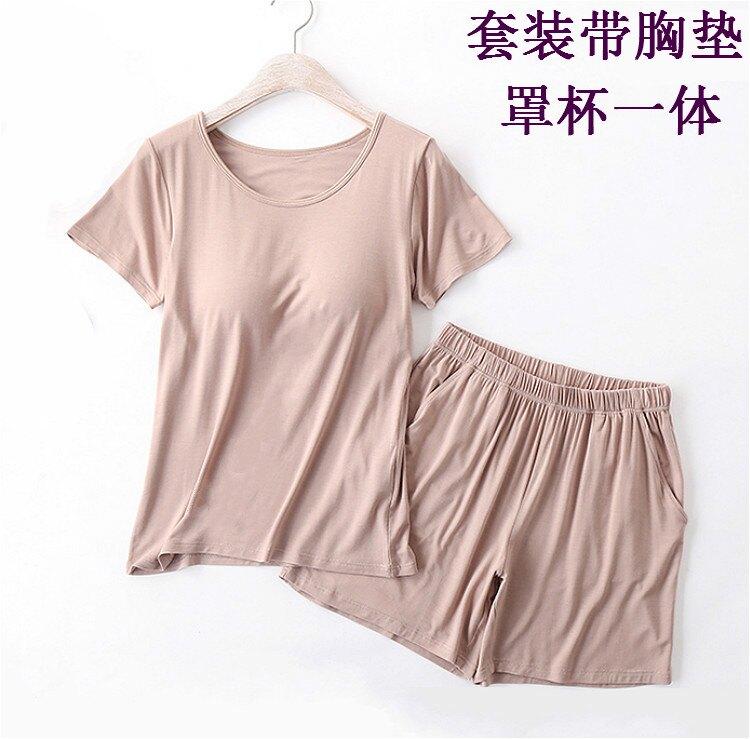 現貨 帶罩杯BRA-tT恤短褲套裝女夏帶胸墊罩杯內衣一體寬鬆半袖兩件套 【新年禮物】