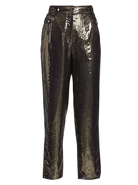 Persis Lamé Wide-Leg Pants