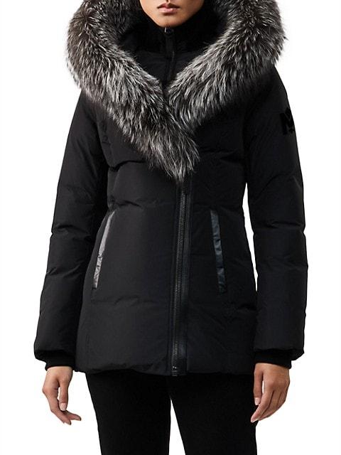 Adali Silver Fox Fur-Trim Coat