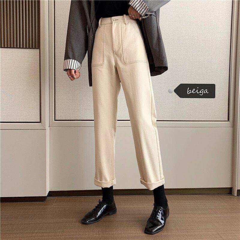 韓版牛仔褲高腰顯高顯瘦女寬松直筒百搭拉鏈九分直筒長褲秋季款潮1入