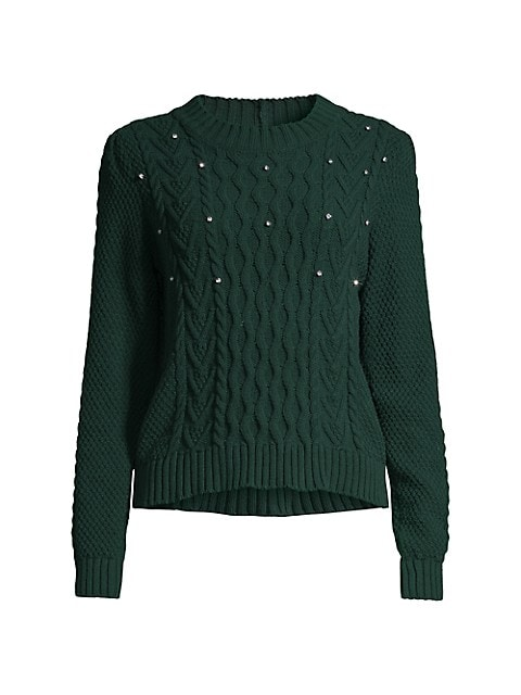 Embellished Cable Knit Sweater