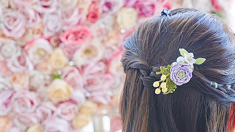 Mimosa Peony Lily hairpiece 客製 婚禮小物 結婚 新娘 鉤織髮夾