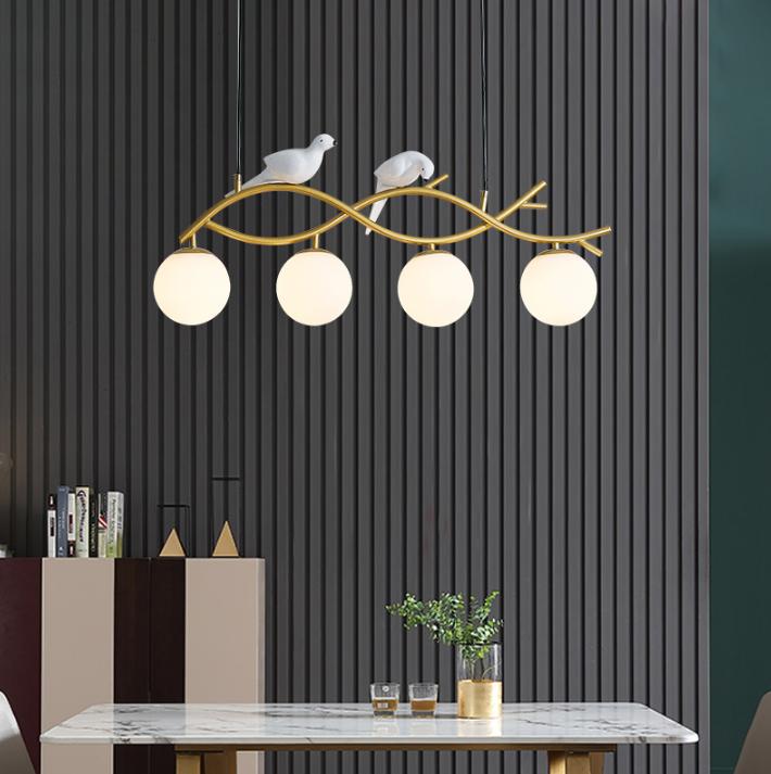 110v燈 燈具 吊燈 4頭三色變光 餐廳吊燈北歐ins風格網紅創意小鳥簡約現代個性飯廳吧臺餐桌燈具