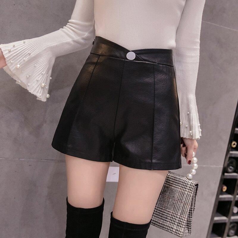 皮褲女配長靴子的短褲2019秋冬季新款時尚寬松顯瘦外穿高腰闊腿褲1入