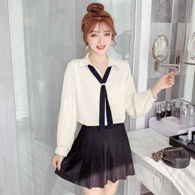 2020春裝女裝新款復古polo領上衣設計感小眾襯衫女領帶長袖雪紡衫1入