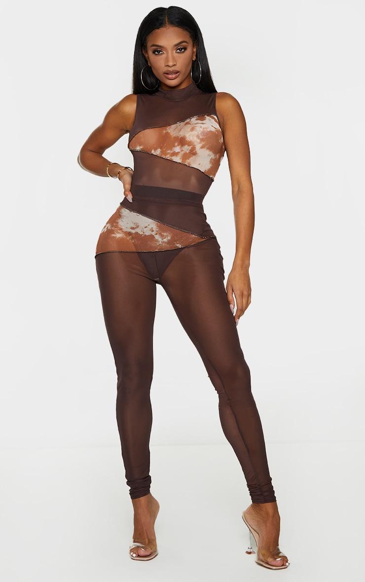 Shape Chocolate Brown Tie Dye Mesh Panel Detail Leggings