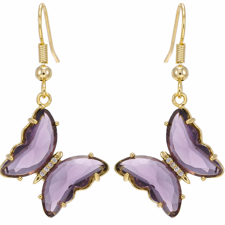 水晶玻璃蝴蝶鉤針耳環-魅惑紫