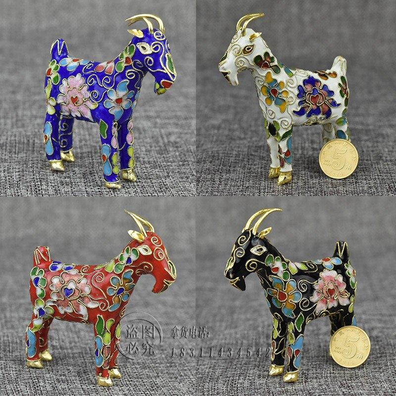 七八十年代老貨動物山羊生肖屬相花絲羊銅胎掐絲琺瑯擺件禮品1入