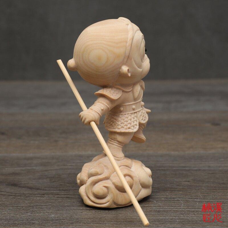 楠溪匠心黃楊木雕刻齊天大圣汽車擺件美猴王手把件Q版卡通孫悟空1入