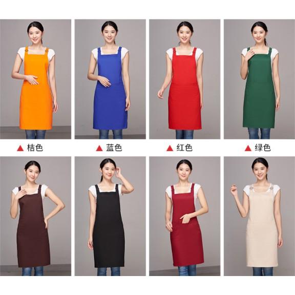 韓式雙肩帶和 H 型背帶防水圍裙, 帶前袋徽標自定義服務