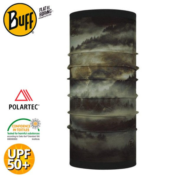 【BUFF 西班牙 雙面POLAR保暖頭巾 Plus 《卡其噴流》】123775/圍脖/帽子/口罩/圍巾/快乾透氣