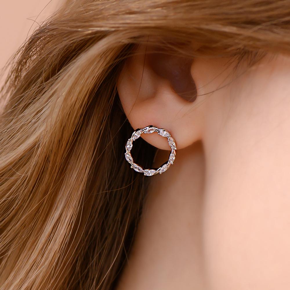扭轉圈圈925銀針耳環(2色)-A10347