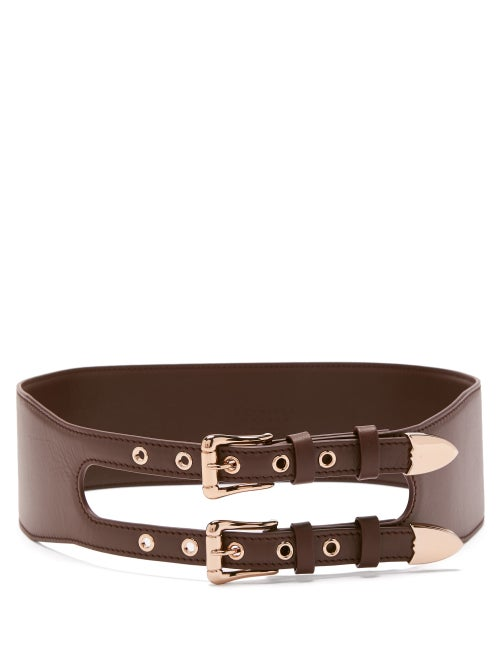 Gabriela Hearst - Minerva Double-buckle Leather Waist Belt - Womens - Burgundy