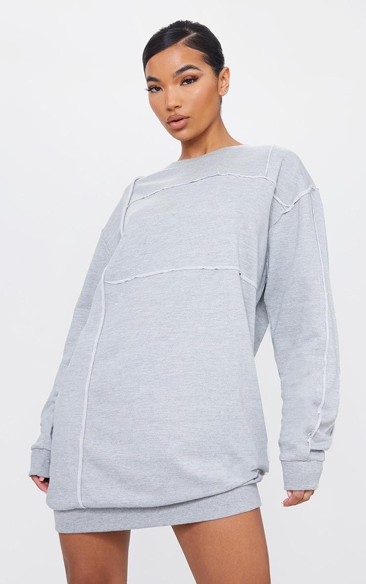 Grey Binding Detail Oversized Sweater Dress
