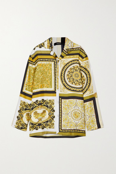 Versace - 印花真丝斜纹布衬衫式睡衣 - 金色 - 3