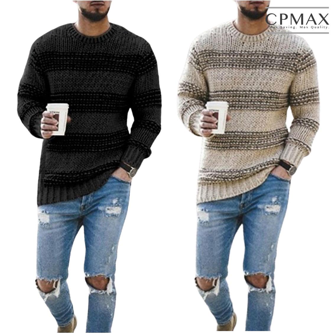 CPMAX 歐美時尚圓領針織毛衣 圓領針織上衣 條紋休閒毛衣 毛衣 上衣 針織 條紋毛衣 休閒毛衣 男生衣著 C173