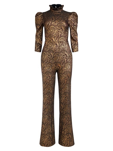 Jorah Brocade Puff-Sleeve Wide-Leg Jumpsuit