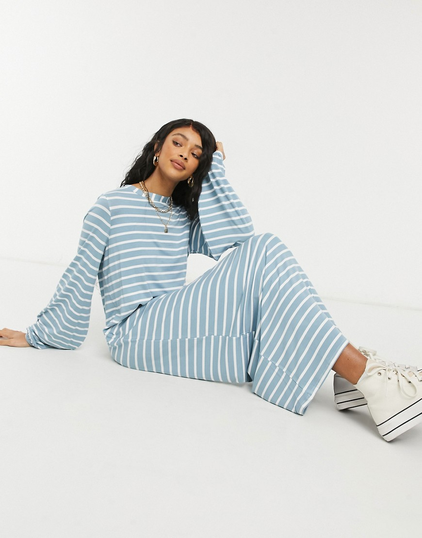 ASOS DESIGN long sleeve maxi t-shirt dress with volume sleeve in dusty blue and white stripe
